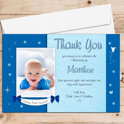 10 Personalised Boys Star Glow Christening / Baptism Thank you PHOTO Cards N196